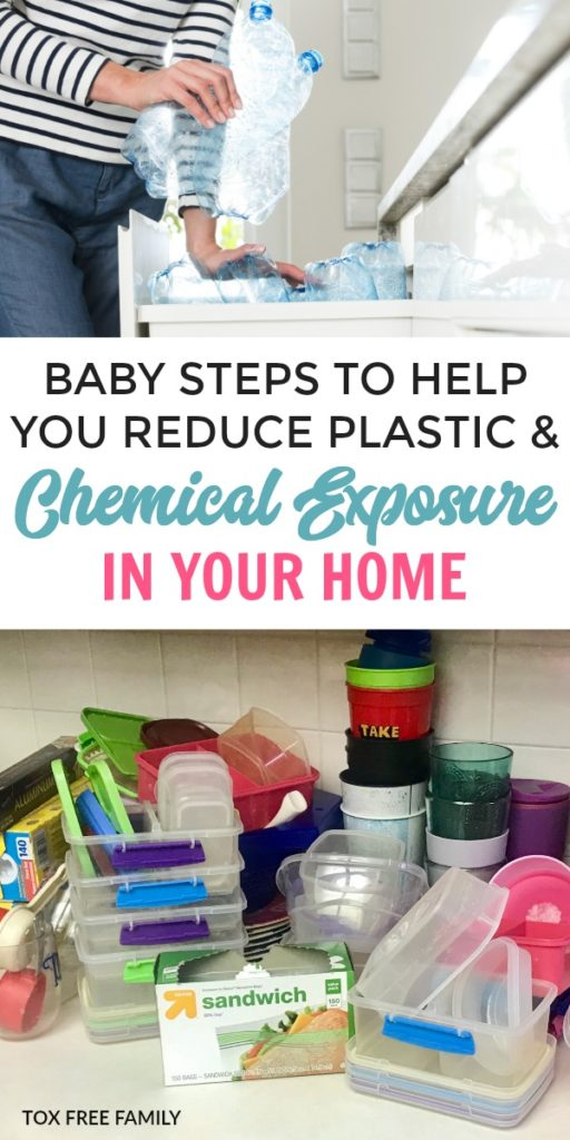 Baby steps to help remove chemical exposure by reducing plastics in your home. Safe alternatives instead of plastic & reduce toxin exposure at home.