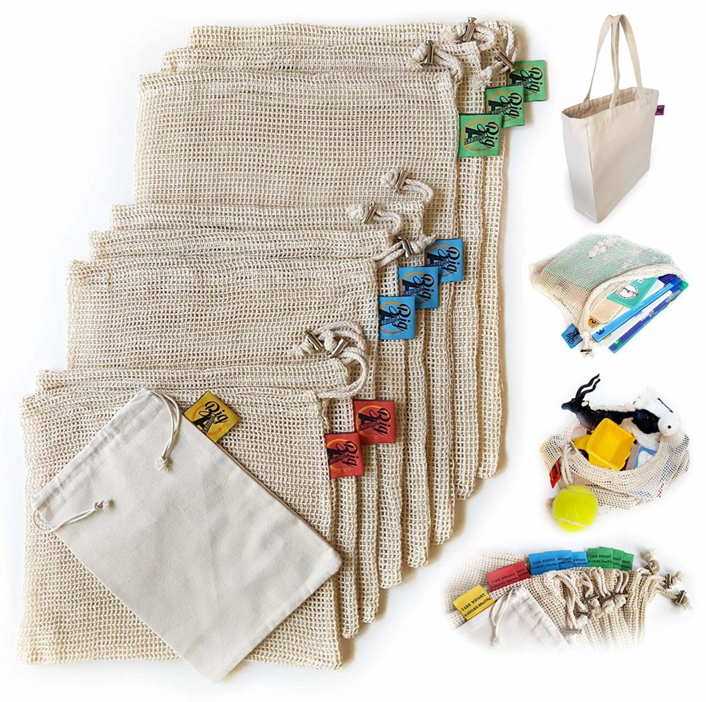 natural fiber produce bags are non-toxic and limit your use of plastic